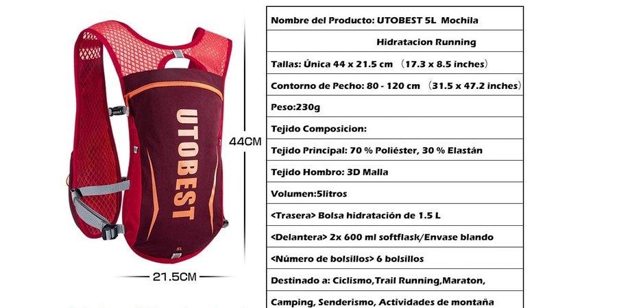 Especificaciones técnicas del chaleco de hidratción Utobest